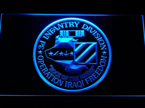 Image of US Army 3rd Infantry Division Operation Iraqi Freedom LED Neon Sign - Blue - SafeSpecial