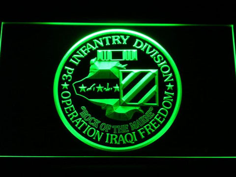 Image of US Army 3rd Infantry Division Operation Iraqi Freedom LED Neon Sign - Green - SafeSpecial