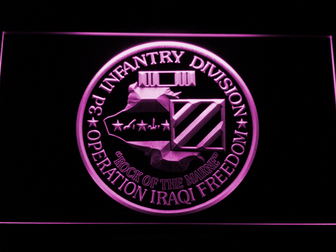 Image of US Army 3rd Infantry Division Operation Iraqi Freedom LED Neon Sign - Purple - SafeSpecial