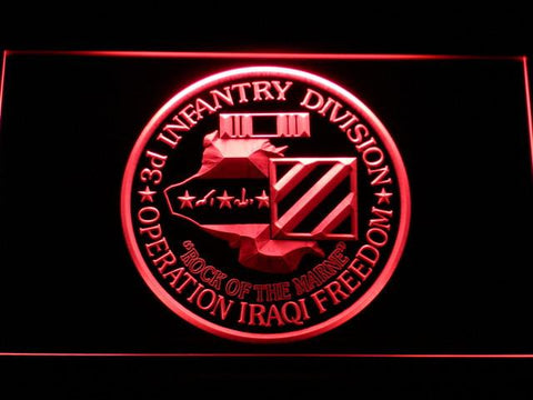 Image of US Army 3rd Infantry Division Operation Iraqi Freedom LED Neon Sign - Red - SafeSpecial