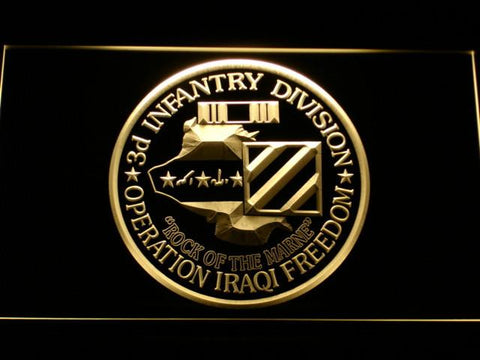 Image of US Army 3rd Infantry Division Operation Iraqi Freedom LED Neon Sign - Yellow - SafeSpecial