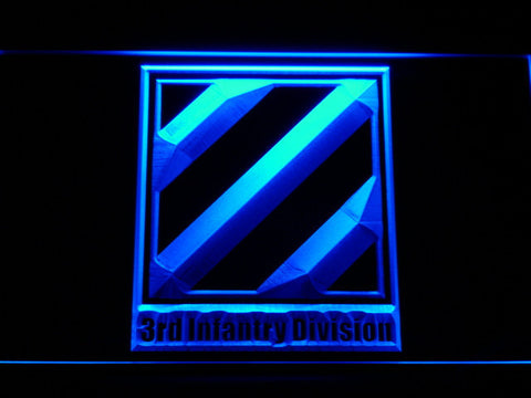 US Army 3rd Third Infantry Division LED Neon Sign - Blue - SafeSpecial