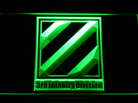 Image of US Army 3rd Third Infantry Division LED Neon Sign - Green - SafeSpecial