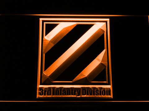 Image of US Army 3rd Third Infantry Division LED Neon Sign - Orange - SafeSpecial