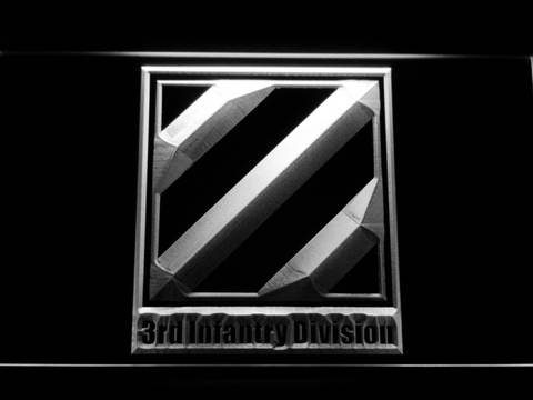 Image of US Army 3rd Third Infantry Division LED Neon Sign - White - SafeSpecial