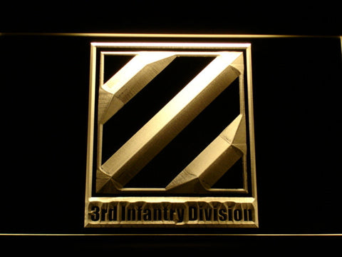 US Army 3rd Third Infantry Division LED Neon Sign - Yellow - SafeSpecial