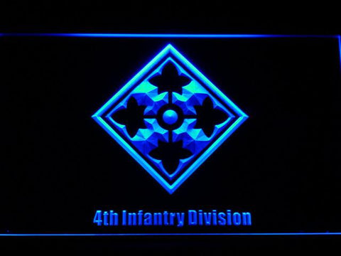 Image of US Army 4th Infantry Division LED Neon Sign - Blue - SafeSpecial