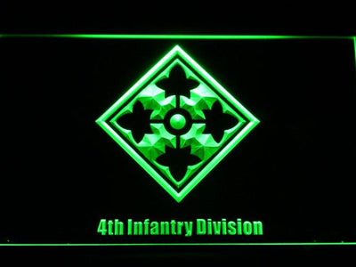 US Army 4th Infantry Division LED Neon Sign - Green - SafeSpecial