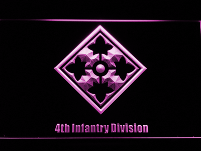 US Army 4th Infantry Division LED Neon Sign - Purple - SafeSpecial