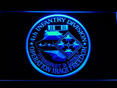 US Army 4th Infantry Division Operation Iraqi Freedom LED Neon Sign - Blue - SafeSpecial