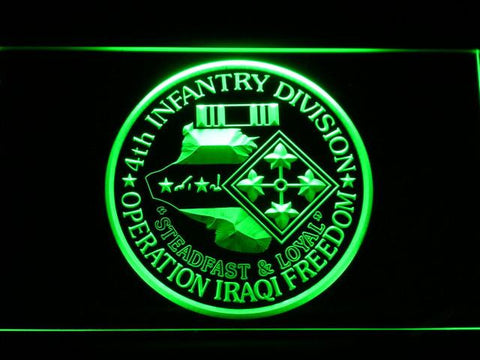 Image of US Army 4th Infantry Division Operation Iraqi Freedom LED Neon Sign - Green - SafeSpecial