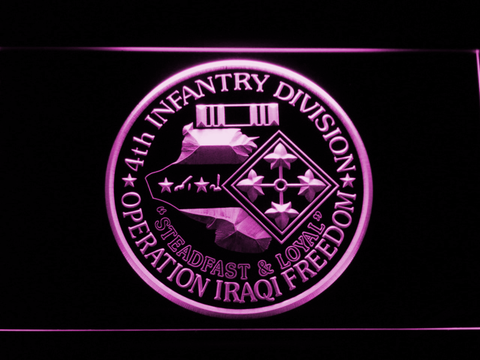 Image of US Army 4th Infantry Division Operation Iraqi Freedom LED Neon Sign - Purple - SafeSpecial