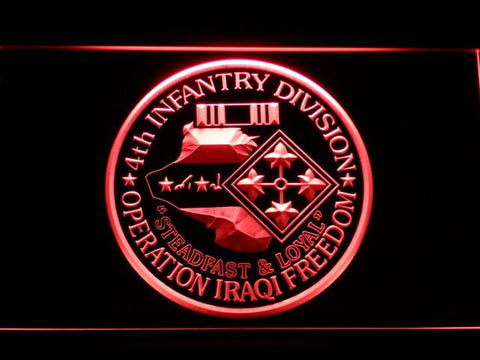 Image of US Army 4th Infantry Division Operation Iraqi Freedom LED Neon Sign - Red - SafeSpecial