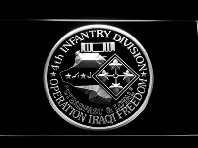 US Army 4th Infantry Division Operation Iraqi Freedom LED Neon Sign - White - SafeSpecial
