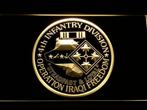 Image of US Army 4th Infantry Division Operation Iraqi Freedom LED Neon Sign - Yellow - SafeSpecial