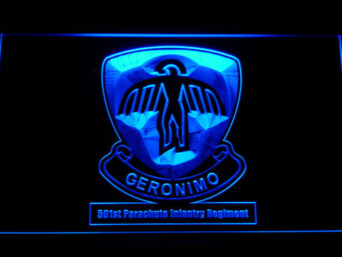 Image of US Army 501st Parachute Infantry Regiment LED Neon Sign - Blue - SafeSpecial