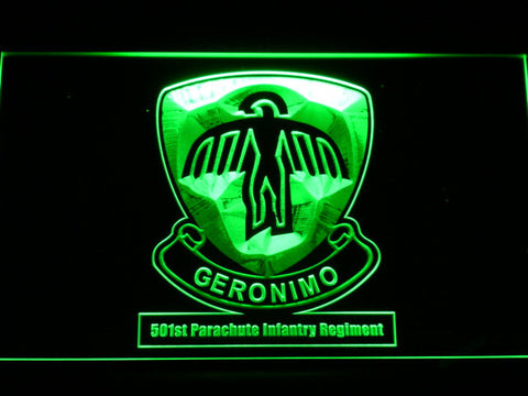 Image of US Army 501st Parachute Infantry Regiment LED Neon Sign - Green - SafeSpecial