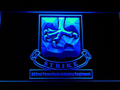 US Army 502nd Parachute Infantry Regiment LED Neon Sign - Blue - SafeSpecial