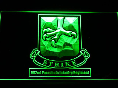 Image of US Army 502nd Parachute Infantry Regiment LED Neon Sign - Green - SafeSpecial