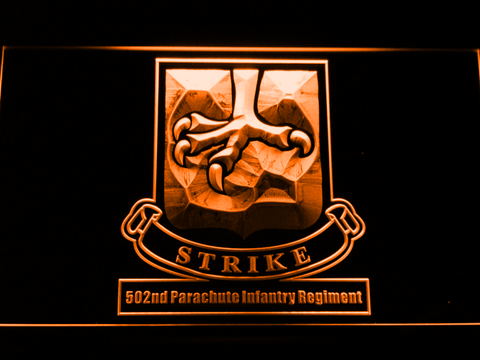 Image of US Army 502nd Parachute Infantry Regiment LED Neon Sign - Orange - SafeSpecial