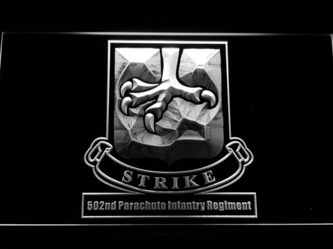 Image of US Army 502nd Parachute Infantry Regiment LED Neon Sign - White - SafeSpecial