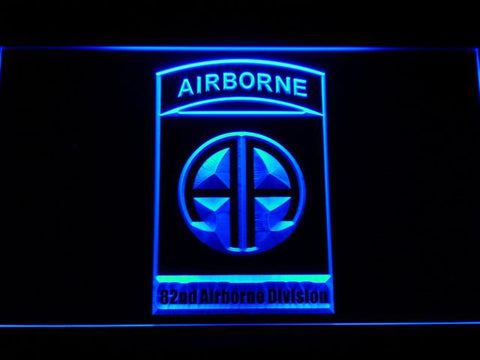 US Army 82nd Airborne Division LED Neon Sign - Blue - SafeSpecial