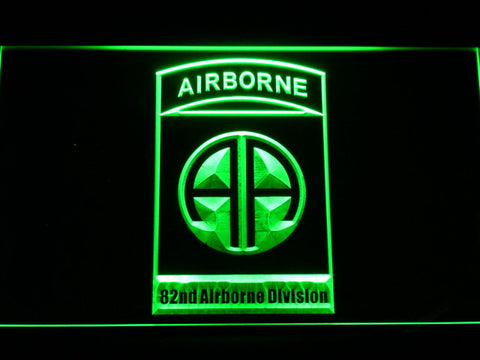 US Army 82nd Airborne Division LED Neon Sign - Green - SafeSpecial