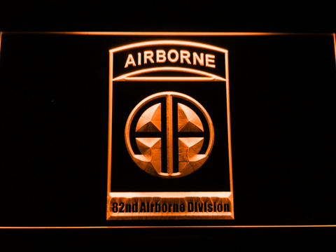 US Army 82nd Airborne Division LED Neon Sign - Orange - SafeSpecial