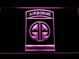 US Army 82nd Airborne Division LED Neon Sign - Purple - SafeSpecial