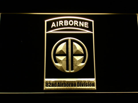US Army 82nd Airborne Division LED Neon Sign - Yellow - SafeSpecial