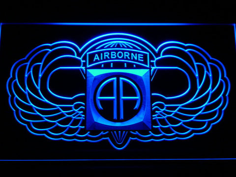 Image of US Army 82nd Airborne Division Wings LED Neon Sign - Blue - SafeSpecial