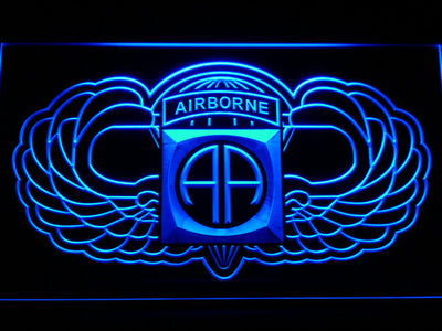 US Army 82nd Airborne Division Wings LED Neon Sign - Blue - SafeSpecial