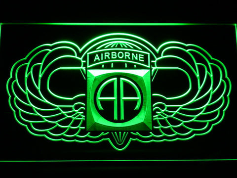 Image of US Army 82nd Airborne Division Wings LED Neon Sign - Green - SafeSpecial
