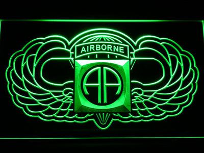 US Army 82nd Airborne Division Wings LED Neon Sign - Green - SafeSpecial