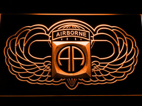 Image of US Army 82nd Airborne Division Wings LED Neon Sign - Orange - SafeSpecial