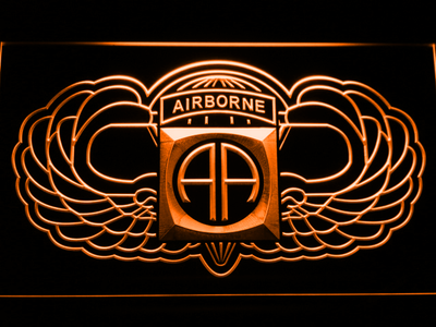 US Army 82nd Airborne Division Wings LED Neon Sign - Orange - SafeSpecial