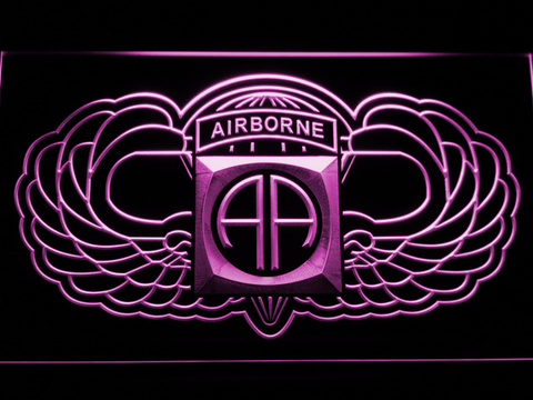 Image of US Army 82nd Airborne Division Wings LED Neon Sign - Purple - SafeSpecial