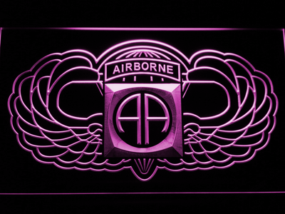 US Army 82nd Airborne Division Wings LED Neon Sign - Purple - SafeSpecial