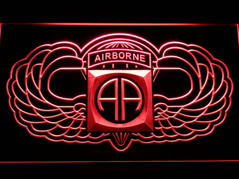 Image of US Army 82nd Airborne Division Wings LED Neon Sign - Red - SafeSpecial