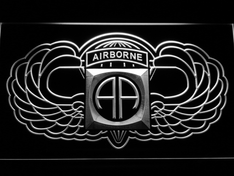 Image of US Army 82nd Airborne Division Wings LED Neon Sign - White - SafeSpecial