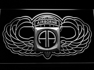 US Army 82nd Airborne Division Wings LED Neon Sign - White - SafeSpecial
