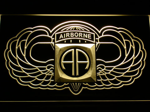 Image of US Army 82nd Airborne Division Wings LED Neon Sign - Yellow - SafeSpecial