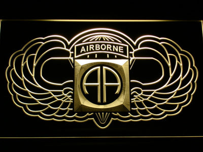 US Army 82nd Airborne Division Wings LED Neon Sign - Yellow - SafeSpecial
