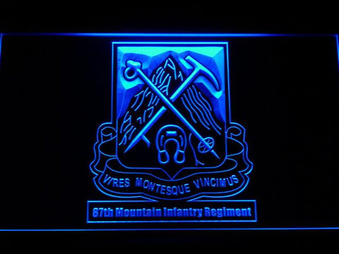 Image of US Army 87th Mountain Infantry Regiment LED Neon Sign - Blue - SafeSpecial