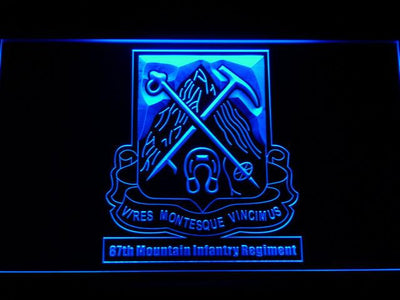 US Army 87th Mountain Infantry Regiment LED Neon Sign - Blue - SafeSpecial