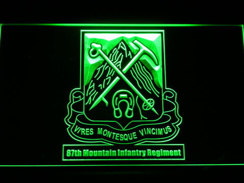 Image of US Army 87th Mountain Infantry Regiment LED Neon Sign - Green - SafeSpecial