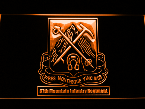 Image of US Army 87th Mountain Infantry Regiment LED Neon Sign - Orange - SafeSpecial