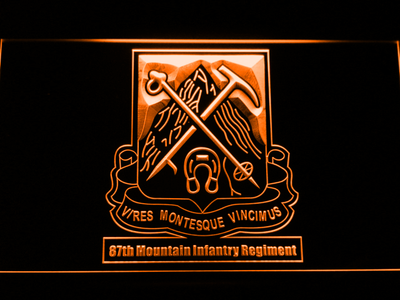 US Army 87th Mountain Infantry Regiment LED Neon Sign - Orange - SafeSpecial