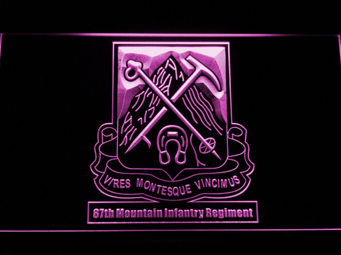 Image of US Army 87th Mountain Infantry Regiment LED Neon Sign - Purple - SafeSpecial