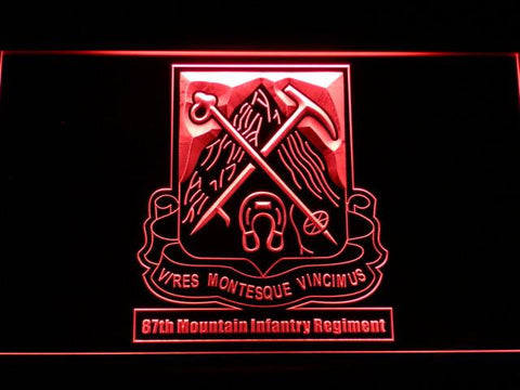 Image of US Army 87th Mountain Infantry Regiment LED Neon Sign - Red - SafeSpecial